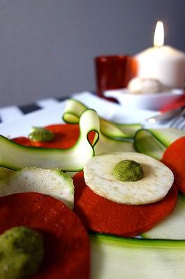 Carpaccio de légumes et son pesto de champignons