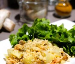 Crumble de champignons et pommes de terre, poulet rôti